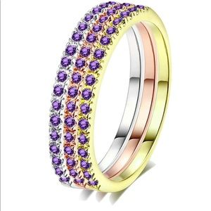 SET OF 3 PLATINUM CREATED AMETHYST STACKABLE RINGS